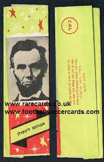 1950s Abe Abraham Lincoln gum wrapper Judaica  Israel USA Civil War president Unela pam pam